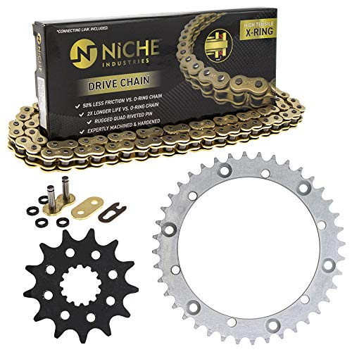 NICHE Drive Sprocket Chain Combo for Yamaha Raptor 660R Front 13 Rear 40 Tooth 520V-X X-Ring 92 Links