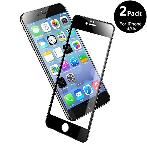 V VONTOX 3D Panzerglas Kompatibel mit iPhone 6/6s [2 Stück], Perfekt Full Screen Schutzfolie (Schwarz) für iPhone 6/6s- Vollglas Das komplette 9H Härte,Anti-Öl,Blasenfrei 3D Touch,4.7 Inch