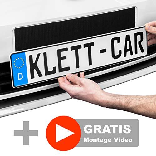 2 x Klett-Car® Auto Kennzeichenhalter Set rahmenlos - Nummernschildhalterung für alle gängigen KFZ - absolut unsichtbarer Nummernschildhalter - Auto Kennzeichen Halterung unsichtbar