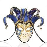 NICEWL Venecianas Hombres Máscara, Mens Masquerade Cara Completa Antifaz,Hecho A Mano Pintura Vintage Carnaval Mask,Adultos de Fiesta Decoraci,Azul