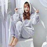 BLINGHG Pijamas cálidos de Invierno para Mujeres Espesar con Capucha Ropa de Dormir Femenina Cute Animal Cartoon Cartoon Flannel Pyjamas Set 2 Pcs Home Service Pyjamas