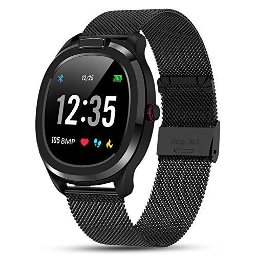 Masskko Smartwatch Fitness Armband Sportuhr Smart Watch mit Temperatur Pulsschlag Blutdruck Blutsauerstoff PPG + EKG für Damen Herren Kompatibel Android IOS,Schwarz