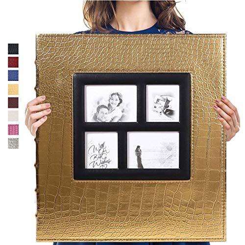 Vienrose Fotoalbum für 600 10x15 Fotos Ledereinband Extra Großes Fassungsvermögen für Familie Hochzeit Jahrestag Baby Urlaub (Gold)