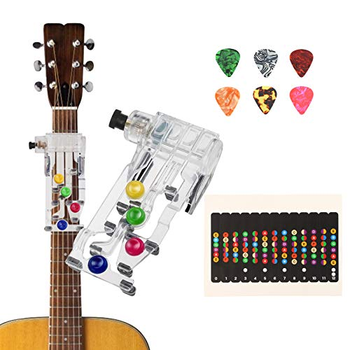 BELIOF Gitarren Übungshilfe Guitar Learning System EIN-Tasten-Gitarren-Lernsystem Gitarrenlehrmittel mit Plektrum Gitarren-Griffbrett Hinweis für Gitarre Anfänger Gitarrenstunde Finger schützen