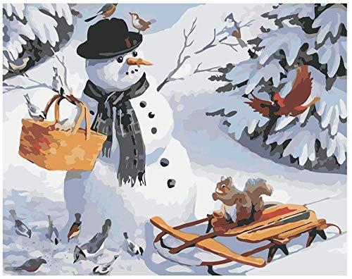Kit de pintura al óleo de bricolaje pre impreso lienzo bosque muñeco de nieve 40x50cm sin marco