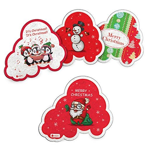 Indigifts Christmas Gifts for Kids Merry Christmas Quote Printed Cute Xmas Fridge Magnet 7 x 9 cm Set of 4 - Cute Christmas Presents for Boys/Girls, Xmas Gift, Secret Santa Gifts