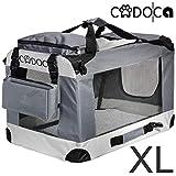 Deuba CADOCA - Cage de Transport pour Animaux domestiques • Gris/Noir • Pliable • Taille XL - Sac de Transport Chien Chat Rongeur