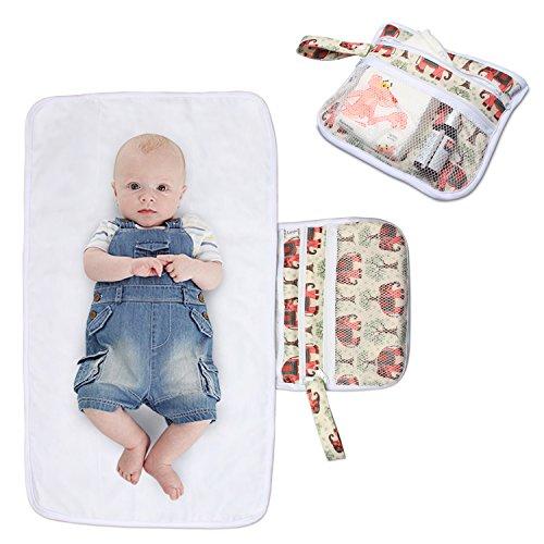 Luxja Wickelunterlage für Unterwegs, Tragbare Wickelunterlage, Windel Matte mit Taschen für Babys und Kleinkinder, Wickelauflage für Haus Reise Unterwegs, Faltbar Waschbar, Elefants