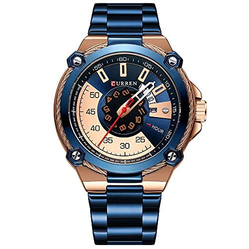 ZFAYFMA Reloj de cuarzo para hombre, moderno, cronógrafo, resistente al agua, calendario luminoso, correa de acero inoxidable, para negocios, deporte, color azul