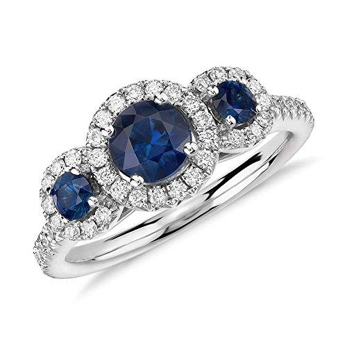Anillo de compromiso de diamante de corte redondo de 1,70 quilates con diamantes de zafiro azul y piedra preciosa de oro blanco de 14 quilates, todas las tallas L M N O P Q R