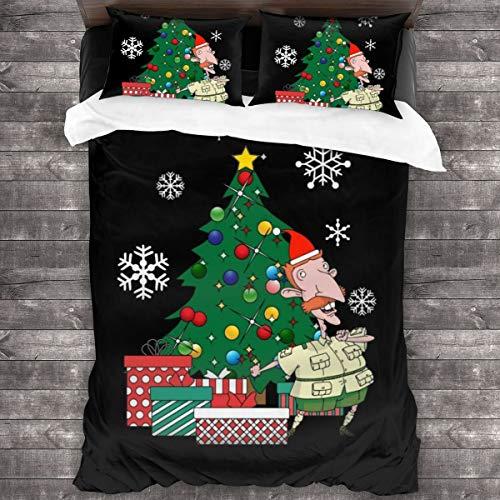 KUKHKU Nigel Thornberry Around the Christmas Tree Juego de cama de 3 piezas, funda de edredón de 86 x 70 pulgadas, decorativa de 3 piezas con 2 fundas de almohada