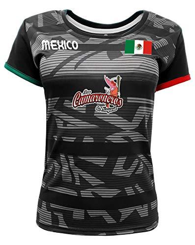 Women Jersey Mexico Camaroneros de Nayarit 100% Polyester Black/Grey (Medium)