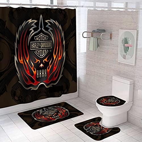 Dunkelrotes Logo Stoff-Duschvorhang-Set, Spritzwassergeschützter, Schimmelresistenter Polyester-Badvorhang 12 Haken, Badteppich, Toilettendeckelabdeckung, U-Förmiger Teppich