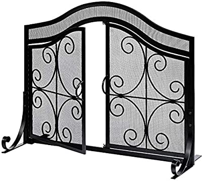 Amagabeli Fireplace Screen with Doors Large Flat Guard Fire Screens Outdoor Metal Decorative Mesh Solid Wrought Iron Fire Place Panels Wood Burning Stove Accessories Black from Amagabeli