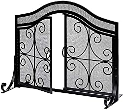 in budget affordable Amagaberi Fireplace Partition with Door Large Flat Fireproof Partition for Outdoors Metal Decorative Mesh…