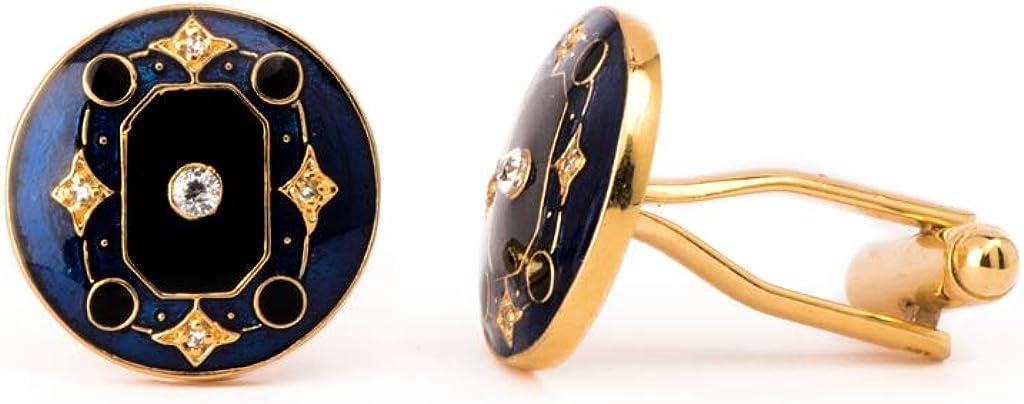Rosec Jewels Art Deco Custom Men Cufflinks, American Diamond Fancy Enamelled Cufflinks, Gold-Plated Brass Wedding Groom Cuff Links, Vintage Suit Tie Clip Cufflinks