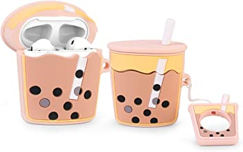 LEWOTE Airpods Silicone Case Funny Cute Cover Compatible for Apple Airpods 1&2[Dessert Food Series][Best Gift for Girls Boys or Couples] (Milk Tea)