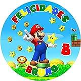 OBLEA de Super Mario Bros Personalizada con Nombre y Edad para...