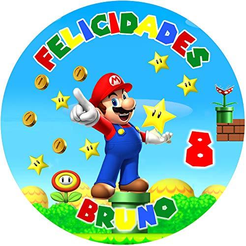 OBLEA de Super Mario Bros Personalizada con Nombre y Edad para Pastel o Tarta, Especial para cumpleaños, Medida Redonda de 20cm de diámetro