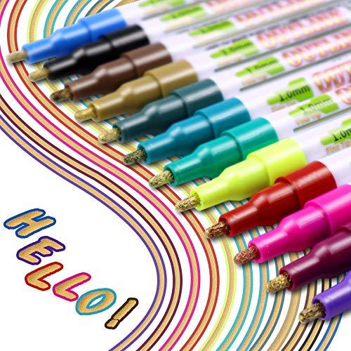 YITHINC Neueste Outline Stift,12 Farben Fluoreszierender Glitzer Doppellinienstift Wasserfester Stift Geschenkkarte Schreibstifte zum Geburtstagsgruß, Schrottbuchung, Malen, Basteln