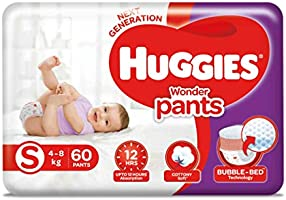 Huggies Wonder Pants Small (S) Size Baby Diaper Pants, 60 count, with Bubble Bed Technology for comfort