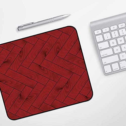 Gaming Mousepad Mauspad,Kastanienbraun, Zick-Zack-Holz-Textur-Bild-Parkett-Baumoberfläche Herringbone Country-Design, Rubin-Dunkelbrau,Komfort Mousepad - verbessert Präzision und Geschwindigkeit