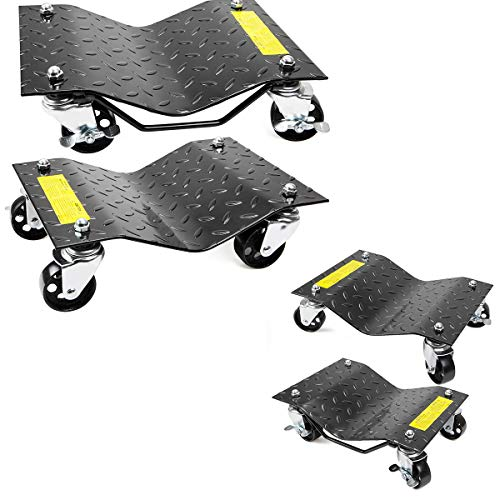 XtremepowerUS 4-Tires Premium Skates Wheel Car Dolly Repair Slide Vehicle Car Moving Dolly (Pack of 4) Rated at 6000lbs.