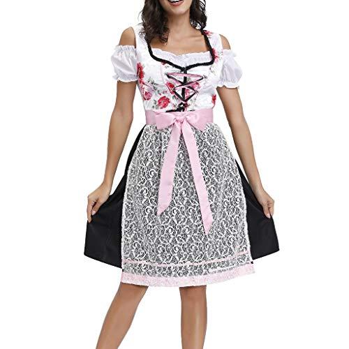 FRAUIT Damen Spitze Dirndl Bogen Kleid Bayerisches Bier Festival Cosplay Kostüme Midi Set 3 teilig mit Bluse und Schürze I Trachtenkleid