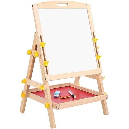 Ejoyous Pizarra infantil magnética de madera con compartimento de almacenamiento, tabla de tiza ajustable para niños, caballete para niños, 28 x 34 x 58 cm