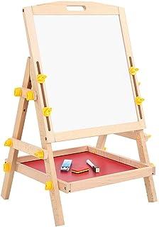 Ejoyous Stående bordsskiva skrivtavla måltavla barntavla magnetisk trä stående tavla med förvaringsfack, krittavla justerb...