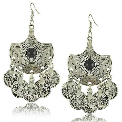 DAQ Pendiente para niñas, Accesorios de joyería, Mujeres Vintage, candelabro Tribal, Monedas,...