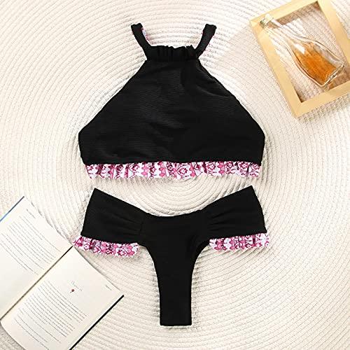 Traje de baño Bikini Floral con Volantes Traje De Baño Sólido con Cordones Traje De Baño con Estampado De Mujeres Traje De Baño Conjunto De Bikini con Cadena L 2503