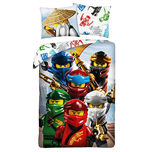 Halantex Lego Ninjago Leg967 - Juego de ropa de cama infantil (140 x 200 cm + 70 x 90 cm, algodón)