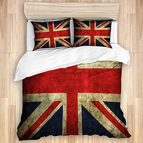 KGSPK Bedding Juego de Funda de Edredón,Bandera Inglesa Vintage,Microfibra Funda de Nórdico y Fundas de Almohada-(Cama 240 x 260cm)
