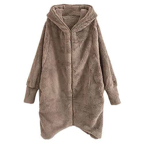 Damen Mantel Plüschjacke, Frauen Wintermantel Langmantel Warm Cardigan Kapuzenjacke mit Taschen Winterjacke Outwear Strickjacke Teddy-Fleece Kapuzenjacke Trench Coat