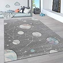 Paco Home Alfombra Infantil, Alfombra Pastel Habitación Infantil con Nubes 3D Y Motivos De Estrellas Arcoíris, tamaño:140x200 cm, Color:Gris 3