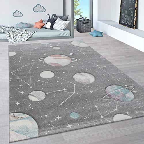Paco Home Tappeto per Bambini per cameretta Color Pastello con Motivo in 3D di Nuvole e Stelle, Dimensione:133 cm Quadrato, Colore:Grigio 3