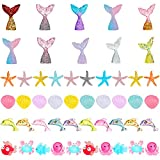 50 Pieces Ocean Animal Slime Charms Set Mixed Mermaid Tail Dolphin Starfish Seashell Slime Charms Resin Flatback Slime Beads for Kids and Adults Craft Making Ornament Scrapbook Phone Case Decor