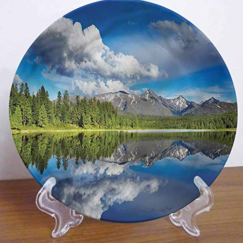 LCGGDB 10 Inch Mountain Pattern Decorative Ceramic Wall Plate,Lake Altai Region Forest Dinner Plate Microwave & Dishwasher Safe for Home Decor