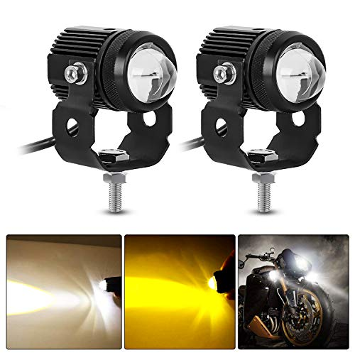 AAIWA 2Pcs LED Auxiliares para Motocicleta, Luces Antiniebla LED Blancas Y Amarillas...