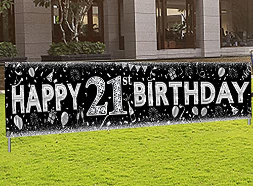 21st Birthday Decorations Yard Sign Banner Black Sliver Large Indoor Outdoor Happy Birthday Banner for Finally Legal Men Or Women Party Supplies