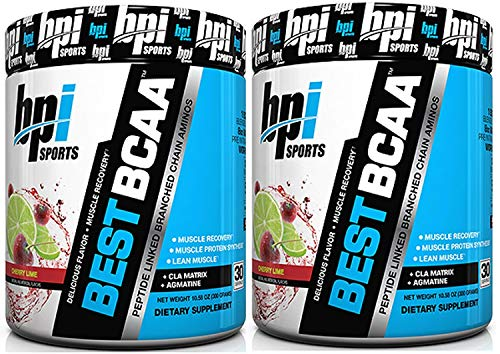 BPI Sports Best BCAA Peptide Linked Branched Chain Amino Energy Powder, 10.58oz, Pack of Two 30 Servings (Cherry Lime 2 x 30svg)