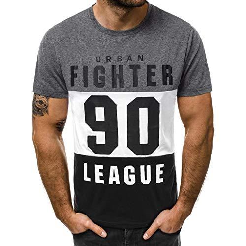 Camisetas Hombre Originales 2019 Nuevo SHOBDW Cómodo Cuello Redondo Blusa Tops Verano Letra Impresa Camisetas Hombre Manga Corta Suelto Tallas Grandes M-3XL(Gris,3XL)