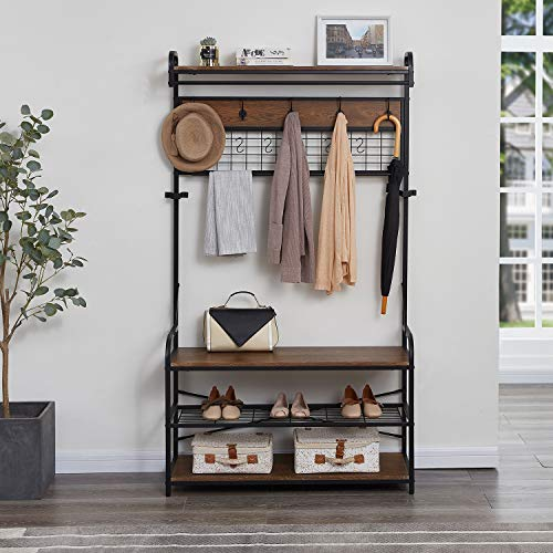 Homissue 5-In-1 Entryway Hall Tree with Shoe Bench Coat Rack with 11 Hooks and 2 Hanging Rods Grid Panel for Memo and Photo Display Brown Finish