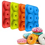 Schneespitze 4 Pezzi Gomma Silicone Stampo,Donut Stampo in Silicone 6 cavità Safe Teglia,per Biscotti,Ciambelle,Muffin,Torte,Caramella
