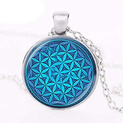 Blume des Lebens Halskette Om Chakra Blume Anhänger Mandala Schmuck Heilige Geometrie Halskette Cabochon Zeit Gem Spirituell
