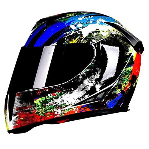 Motorradhelm Dirt Bike Helme ATV Helme Motocross Helm Integralhelm Für Erwachsene Männer Frauen Dot Dot Approved Modular Doppel Sonnenblende Crash Rennhelm Winddicht Regenschutz Comic White,XL