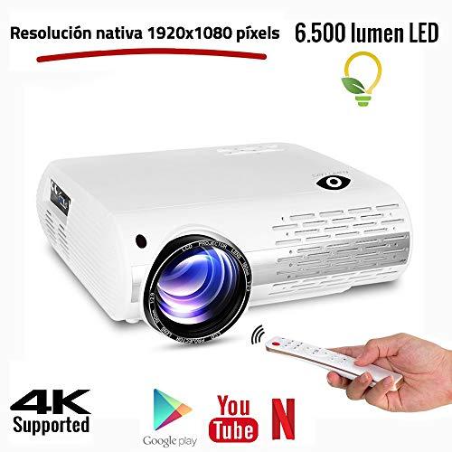 """Seelumen 6500 Lúmenes Proyector Full HD 1080P (1920 x 1080) Proyector Cine en Casa con Corrección Digital, Android 6.0, AC3, Compatible con Netflix, Kodi, Playstore, Bluetooth, WiFi 5G, 200"""" (Blanco)"""