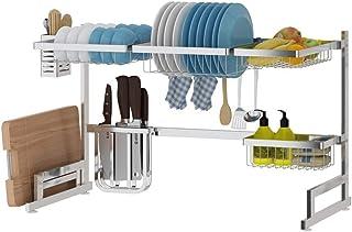 rangement et organisation de cuisine Vaisselle Etendoir en acier inoxydable Longueur ajustable dessus de l'évier nonslip H...