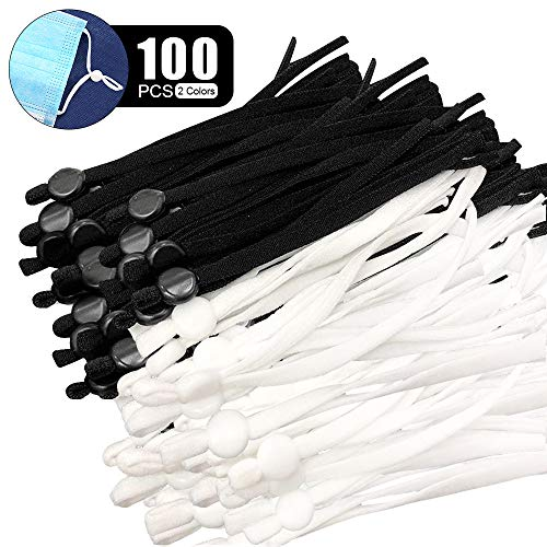 100 Pieces Elastic Bands for Sewing with Adjustable Buckle High Stretch String Cord Elastic Thread Rope for DIY Crafts Earloop Lanyard Earmuff Rope